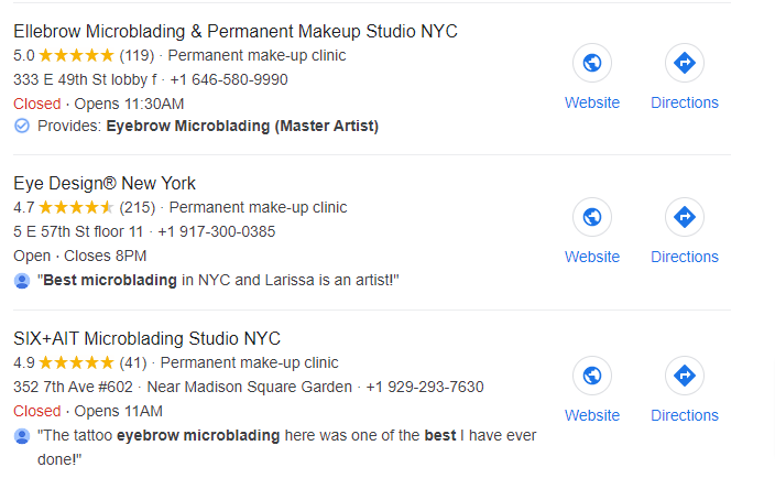 Microblading research in Google local